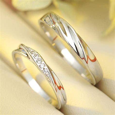 Wedding Rings For Couples by Silver Wedding Rings For Him And Simple Wave Promise