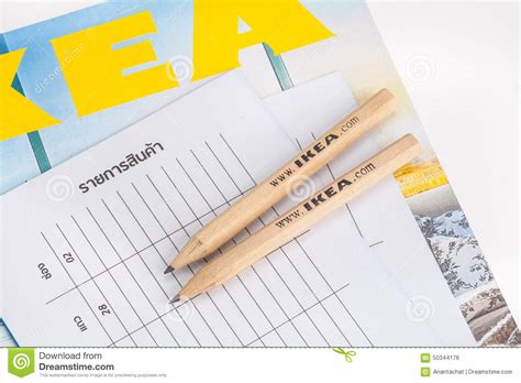 List Ikea ikea pencil and shopping list editorial photo image 50344176