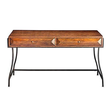 wood and metal writing desk uttermost edric wood and metal writing desk in walnut