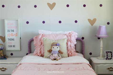 pink and purple girls bedroom little girl purple gold bedroom makeover lolly jane