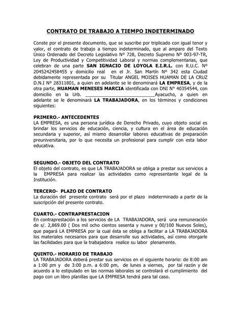 contrato general de empleo descargue plantillas de contrato de trabajo a tiempo indeterminado