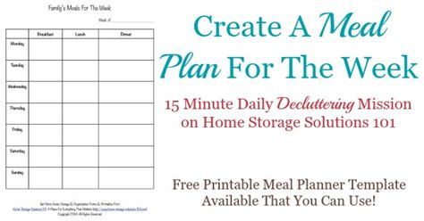 dinner menu template for home printable weekly meal planner template