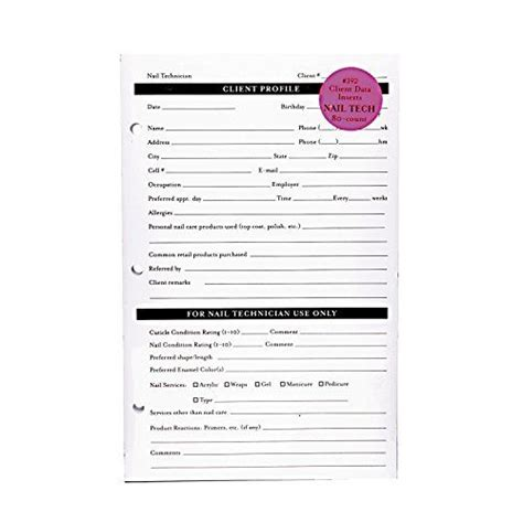 Nail Technician Client Record Card Template by 11 Best 4 Salon Client Cards Images On