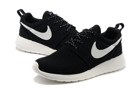 authentic nike roshe run yeezy mens black white