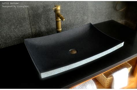 black granite vessel bathroom sinks 24 quot black granite vessel sink lotus shadow