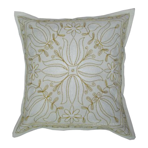 Beautiful Throw Pillows Beautiful Floral Indian Golden Thread Embroidered Cotton