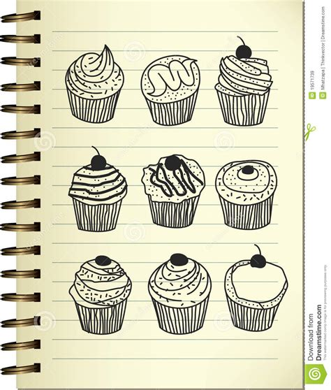 cake doodle ideas cupcake doodle royalty free stock images image 19571739