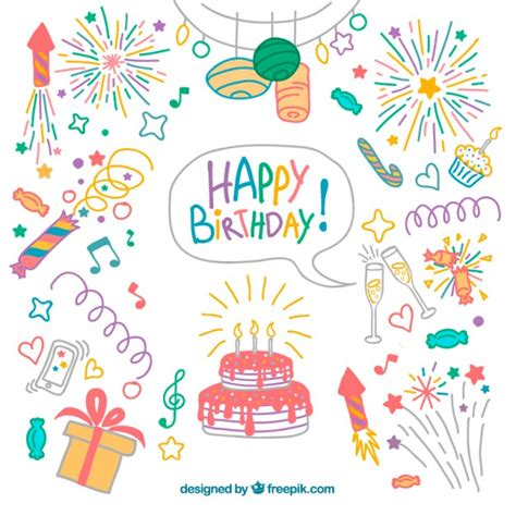 happy birthday notes design vector free vector graphic hand drawn colored birthday elements pack vector free