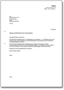 Anfrage Stellen Brief bitte 220 bernahme hausverwaltung vorlage zum