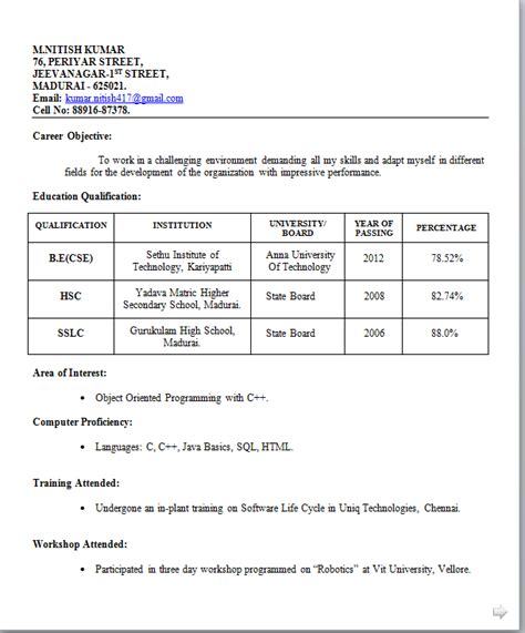 Resume Format For Freshers B Tech Aeronautical Resume Templates