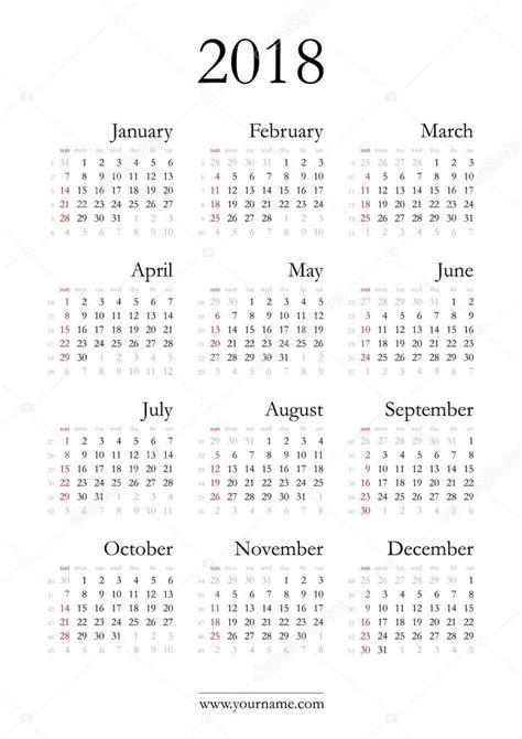 Panama Kalendar 2018 Elegante Calendario 2018 Vector De Stock 96318718