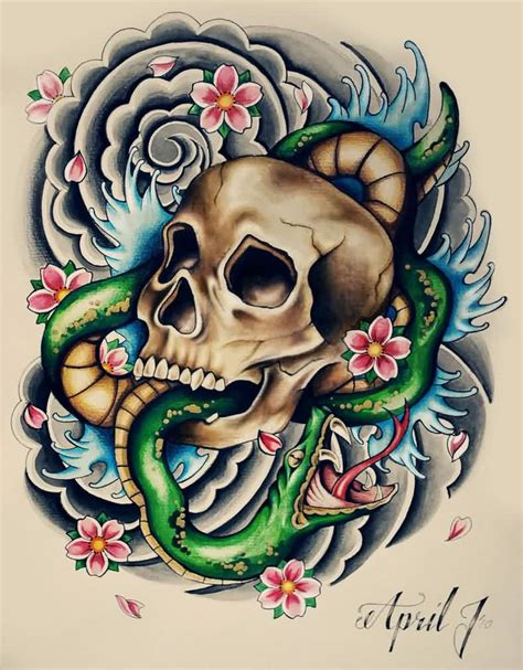 colored skull tattoo designs colorful skull and waves design truetattoos