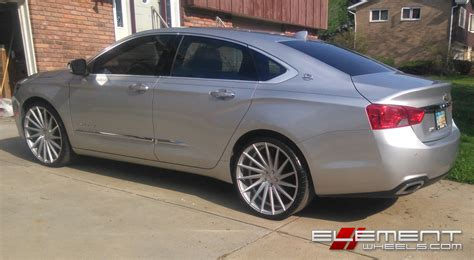 2014 impala on 22s 22 inch staggered varro vd15 matte silver brushed on