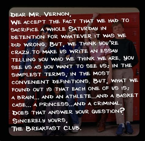Closing Letter From The Breakfast Club The Breakfast Club Letter