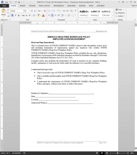 Drug Free Workplace Acknowledgement Template Emh510 3 Free Workplace Policy Template