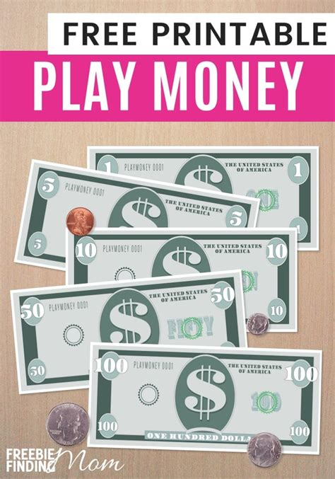 free printable fake play money free printable play money template