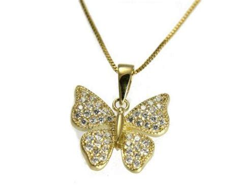 Bling Gold Ar solid 14k yellow gold sparkly bling bling clear cz butterfly pendant 1 arthur s jewelry