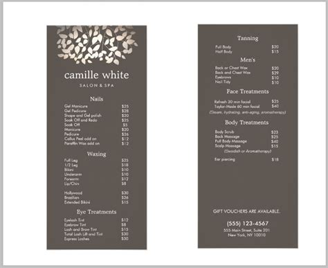 14 Salon Menu Templates Free Premium Templates Hair Salon Menu Templates