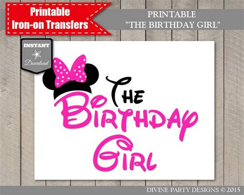 printable iron on transfers birthday instant download print at home hot pink mouse the birthday