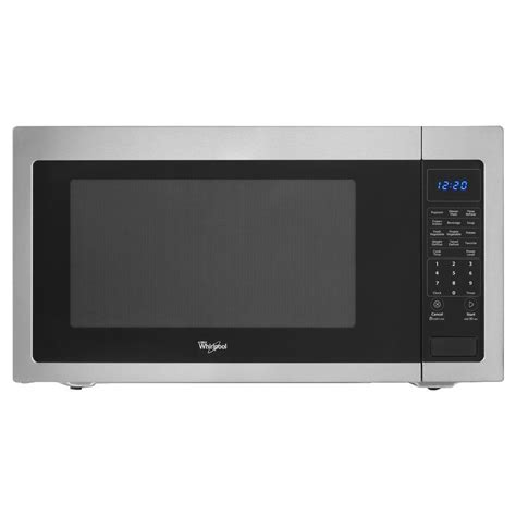 Can Countertop Microwaves Be Built In by Whirlpool 2 2 Cu Ft Countertop Microwave In Stainless Steel Built In Capable With Sensor