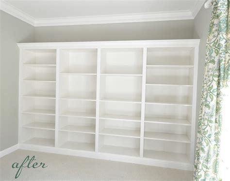 how to make built in bookshelves from billys to built ins centsational