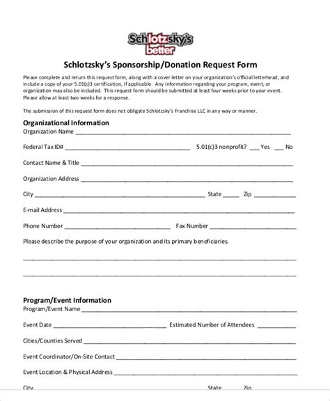 10 Donation Request Form Sles Exles Templates Sle Templates Sponsorship Request Form Template