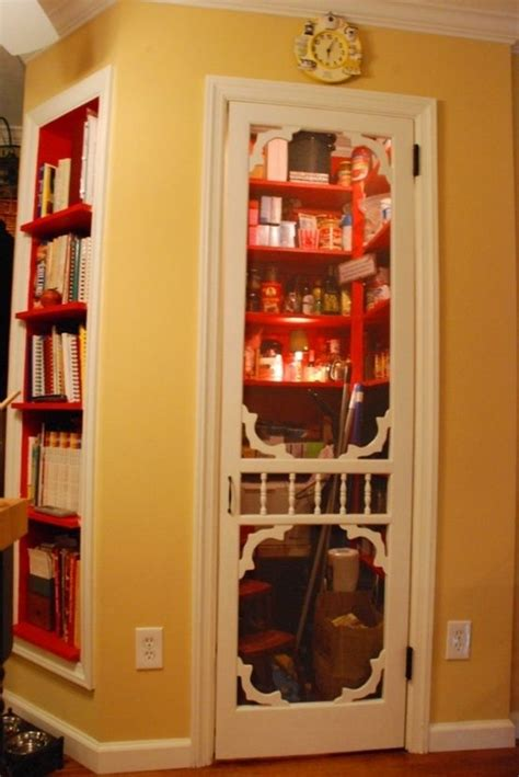 between studs pantry with screen door and great bookcase