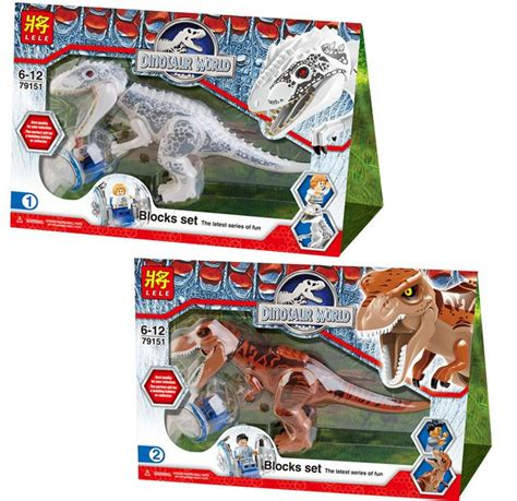 Lele 79278 By Indo Toys 2 pcs jurassic world indominus rex t rex building blocks