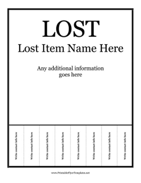 Lost Flyer Template lost flyer