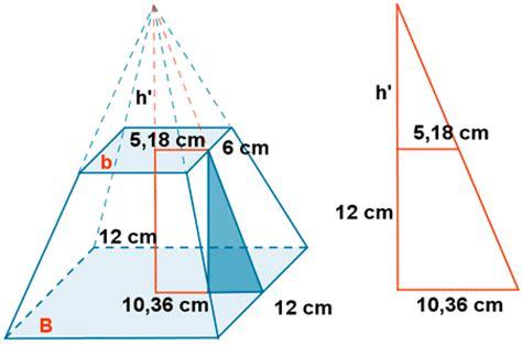 tronco de piramide. piramide truncada. area del tronco de