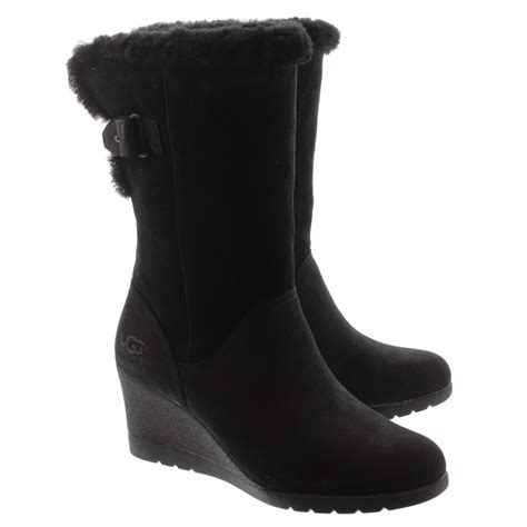 ugg edeline wedge boots in black in black