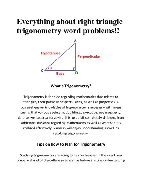 Right Triangle Trigonometry Word Problems Worksheet With Answers by Right Triangle Trigonometry Word Problems