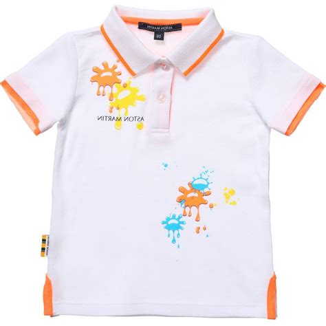 aston martin baby boys white polo t shirt with paint