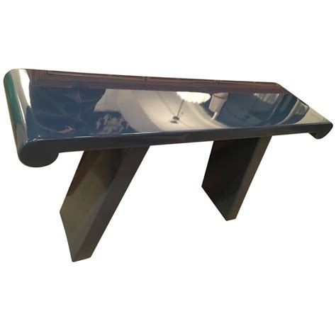 Navy Blue Console Table by Vintage Newly Lacquered Navy Blue Console Table Scroll