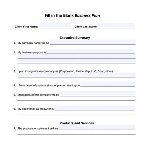 fill in template fill in the blank business template