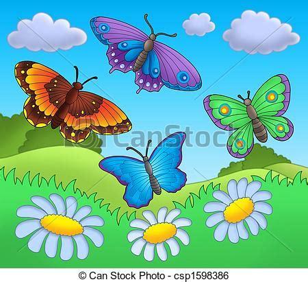 farfalle clipart archivio illustrazioni di farfalle prato farfalle su