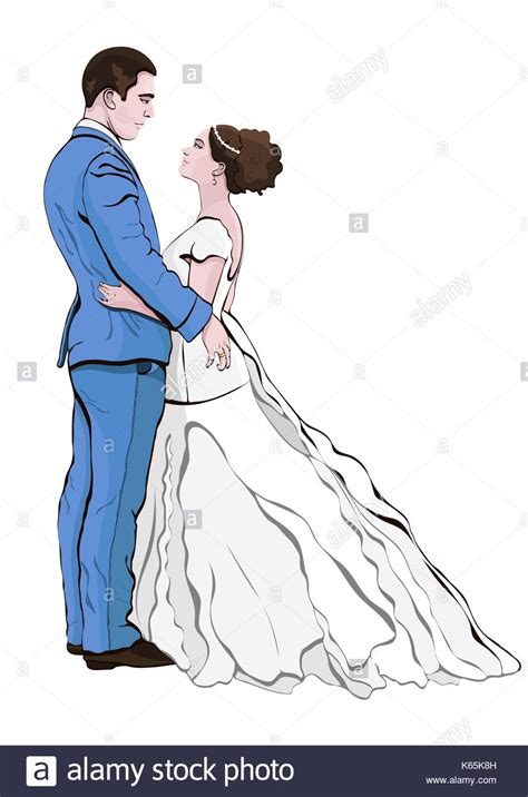 braut zeichnen young married couple stock vector images alamy