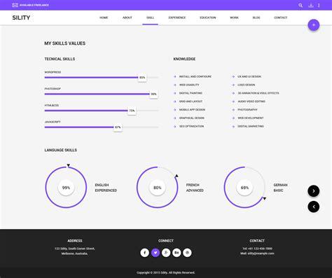 skills portfolio template sility vcard cv resume html template by wpmines