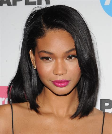 chanel haircuts chanel iman medium straight casual hairstyle black hair