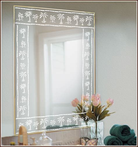 fancy palm border decorative mirror with etched carved 26 lastest bathroom mirrors etched glass eyagci com