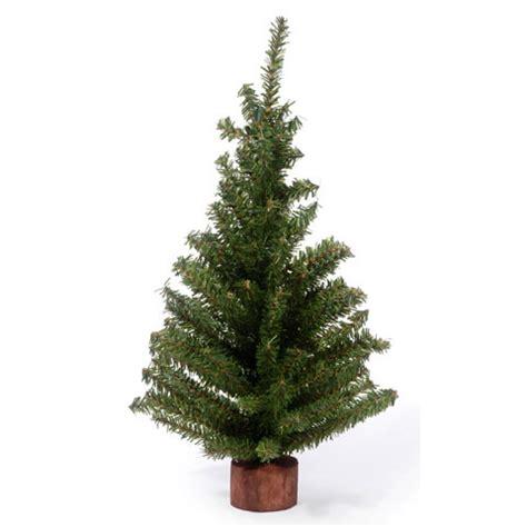 18 quot mini canadian pine christmas tree w wood look base green