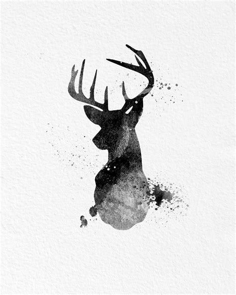 reindeer printable wall art watercolor art buck deer gift modern 8x10 wall art decor