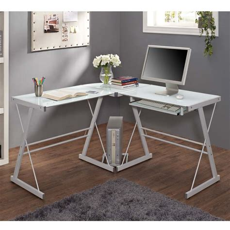walker edison glass desk walker edison soreno l shaped glass computer desk white