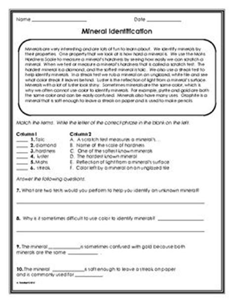 minerals worksheet paragraph highlights and shorts