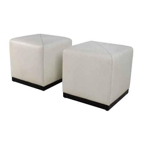 White Leather Cube Ottoman 68 Pair Of White Leather Ottoman Cubes Storage