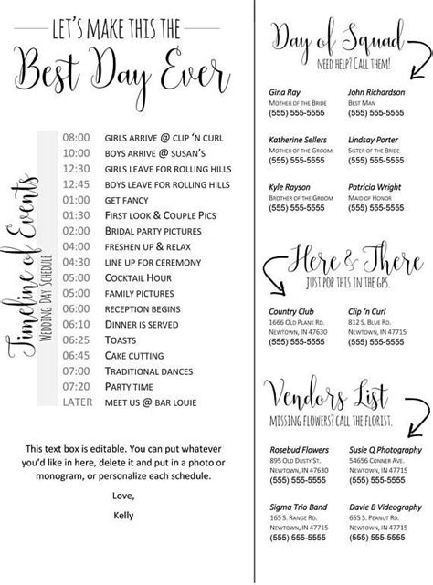 The 25 Best Wedding Itinerary Template Ideas On Pinterest Wedding Day Itinerary Wedding Wedding Schedule Template For Guests