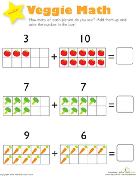 preschool mathematics an examination of one program s addition veggie math worksheet education com