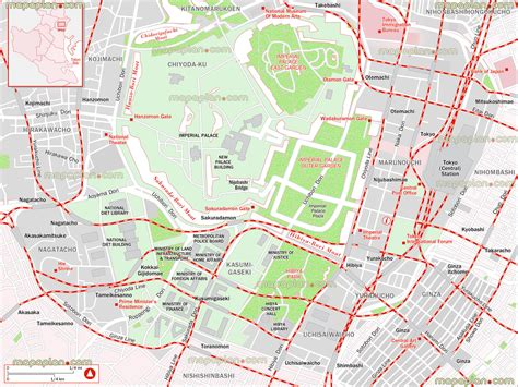 printable map tokyo tokyo map city center map with chiyada imperial palace