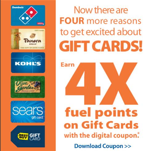 Kroger Gift Card Fuel Points - 4x fuel points on gift cards back at kroger save 1 per gallon on gas points miles