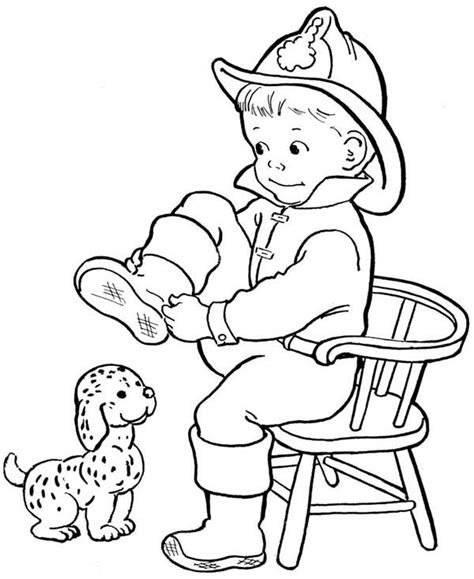 coloring pages of fire fire dog is smiling coloring pages